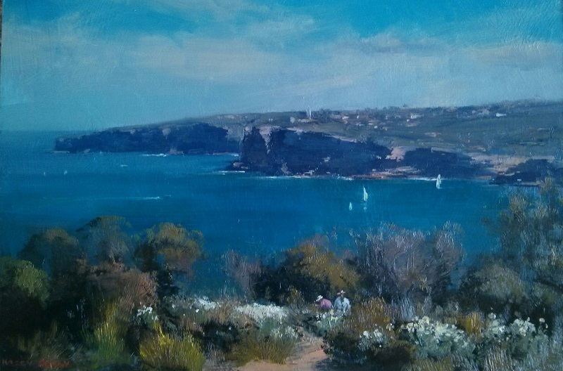 Looking South North Head (45x30cm)