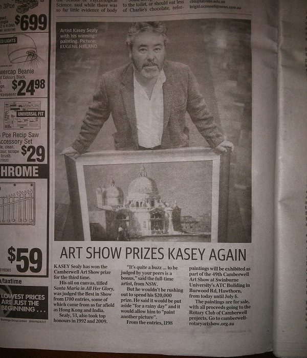 Kasey Sealy Art Show Prize Newspaper Article